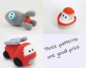 Amigurumi vehicles crochet pattens rocket, boat and fire truck, toys for little boys written in US English