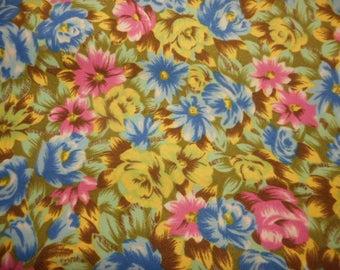 "Multi-Colored Floral Print Vintage Fabric-Large Piece-144"" x 45"""