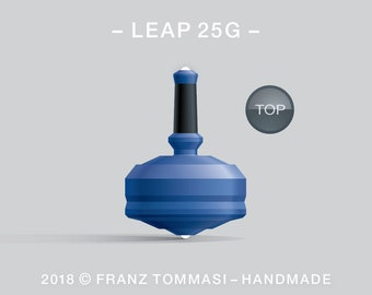 Leap 25G (Blue) – Spin top with dual ceramic tip and rubber grip