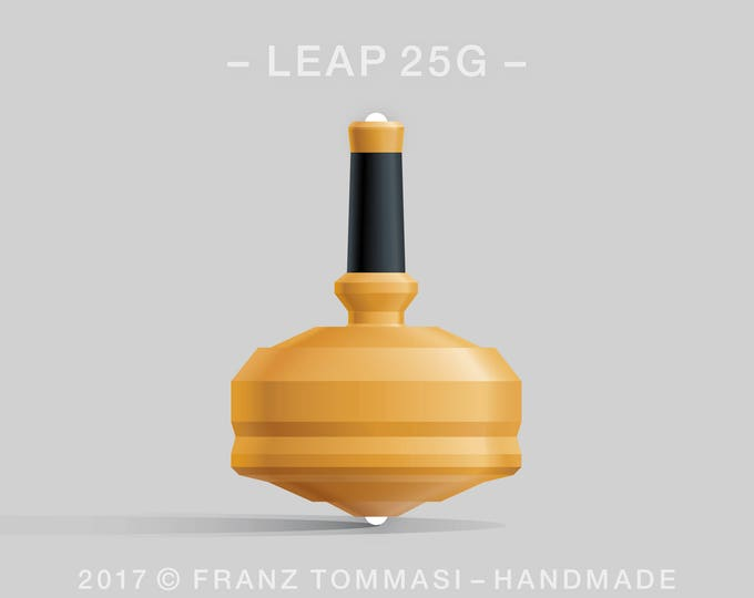 LEAP 25G Yellow Spin Top with yellow polymer body, ergonomic stem with rubber grip, and dual ceramic tip