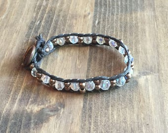 Upcycled Wrap Bracelet with Swarovski Crystals
