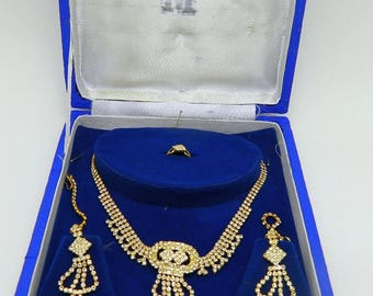 Rhinestone Necklace, Earrings and Ring Set in Jewel Case