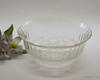 KIM of Indonesia Crystal Bowl, Fleur de Lis and Scroll Pattern Bowl, KIM Serving Bowl, Crystal Salad Bowl, Crystal Vegetable Bowl