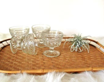 Vintage Clear Glasses, Champagne Glasses, Anchor Hocking Wexford Diamond Cut Barware, Mid Century Bar Cart Decor, Coupe Glasses, Set of 4