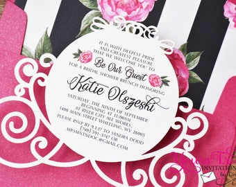 Sample- Cinderella's Carriage Custom Laser Cut Bridal Shower, Baby Shower or Wedding Invitation shown with Pink envelope and striped liner