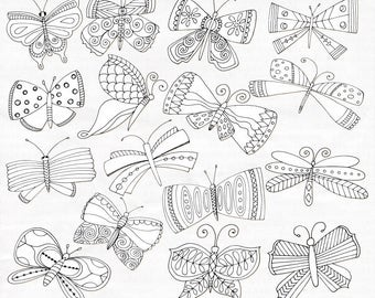Fantasy Butterflies Clip Art, Whimsical Butterfly, Hand Drawn Mythical Creature Illustrations, Instant Download PNG, Commercial Use Graphics