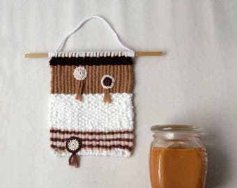 Hand Woven Wall Hanging, Boho Wall Art, Textile Wall Hanging, Tapestry Weaving, Rustic, Crochet, Hand Woven Hanging, Bohemian Decor, Small