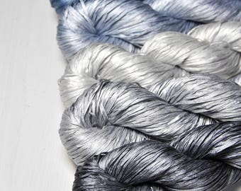 Silver lining - Gradient of Silk Tape Lace Yarn