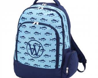 Personalized finn backpack/ blue fish backpack/ monogrammed backpack/ back to school/ personalized book bag