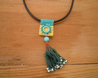 crochet necklace with tassel, yellow turquoise green, leather cord