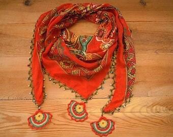 red beaded triangular scarf, turkish crochet