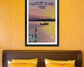 Art Deco Madeline Island Summer Ferry Print