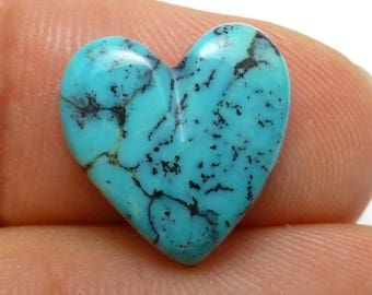 Turquoise Heart Cabochon Arizona USA Blue Aqua Teal Gemstone Designer Cut Lapidary Jewelry perfect for Wire Wrapping