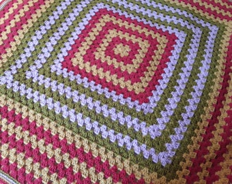 Crochet Granny Square Colour Fun Blanket Afghan