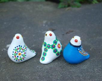 Three Bright Colorful, Gloria A Dios, Pottery Ceramic Clay Sculpture Sweet Birds ~ Costa Rica Artisan Folk Art Tropical Bird Sculptures