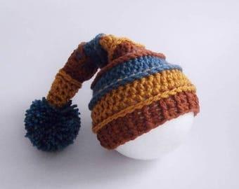 SALE 30% ON SALE Baby Pixie Hat _ Newborn Baby Crochet Stripe  Hat _ NewBorn Baby Hospital Hat _ Newborn Photo Props_ Newborn Posing Hat_Bab