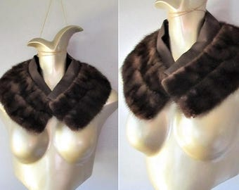 50% OFF SALE Vintage 1950's Dark Mink Fur Stole Collar / Brown Furry Coat Neck Collar