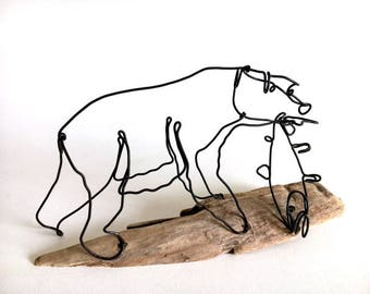 Bear with Fish Wire Sculpture, Bear Art, Bear Wire Sculpture, Minimal Sculpture, 537251850