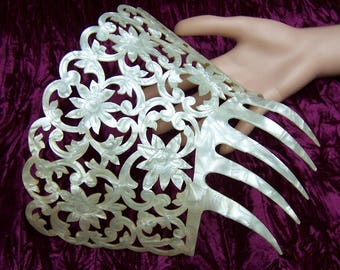 Spanish mantilla comb oversized mother of pearl effect hair accessory headdress headpiece hair ornament decorative comb