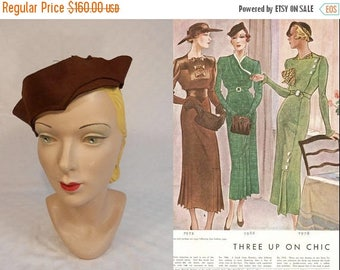 WW2 ENDS SALE Off In the Distance She Stares - Vintage 1930s Espresso Brown Wool Felt Slouch Calot Hat