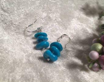Sleeping Beauty Turquoise Nugget Earrings Sterling Silver