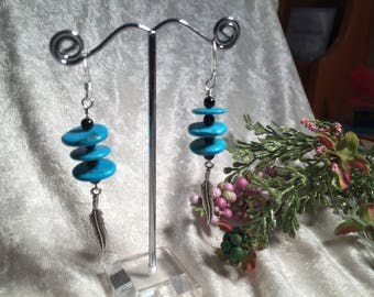 Turquoise and Black Agate Feather Earrings