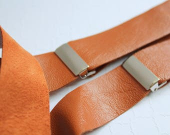 Caramel Raw Leather Suspenders