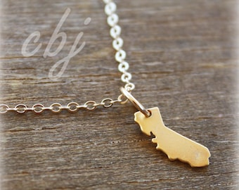 California Necklace, California Charm, California Gold Tone Necklace, Minimal Necklace, Minimal,  Tiny California Charm