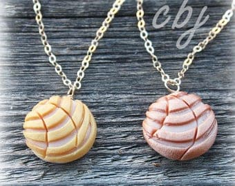 Concha Charm, Pan Dulce Charm, ROSE GOLD Concha Necklace, Rose Gold Pan Dulce Necklace, Polymer Clay
