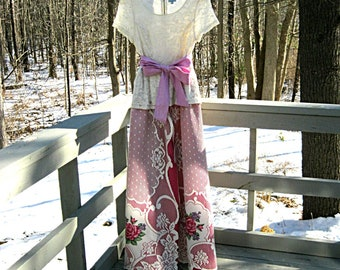 Fuschia and ivory prom dress, formal dress, one of a kind dress, party dress, with ivory lace skirt, size medium, Lily Whitepad