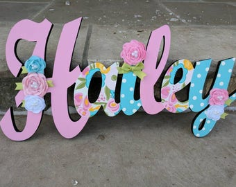 Custom Kids  Hand Painted Floral Name Sign - Nursery Wall Letters Name Sign - Wood Wall Letters Cursive Style Letter Name with Flowers