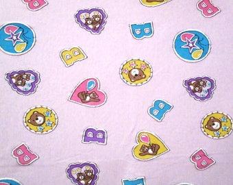 Vintage 1980's PuFFY BEARS SEWING FABRIC Material Fairy Kei Kawaii Dress Shirt