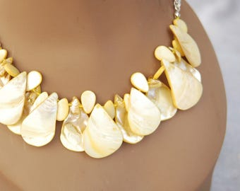 Yellow Mother of Pearl Drop Necklace