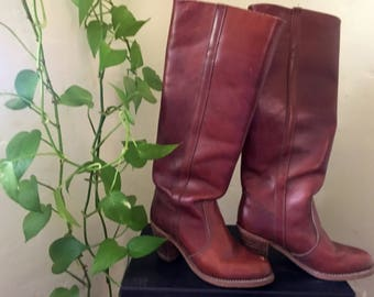 Burgundy Dexter leather boots - size 5 1/2