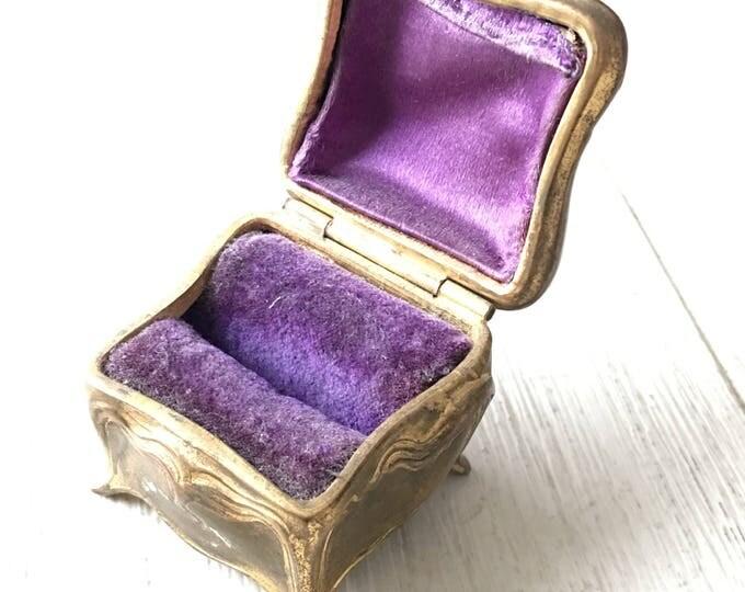 Antique Ring Box Jewelry Casket Vintage Golden Art Nouveau Floral Design