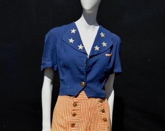 Vintage old 40s COLUMBIA PICTURES sailor costume WWII from western costume hollywood studios sailor suit tap shorts by thekaliman