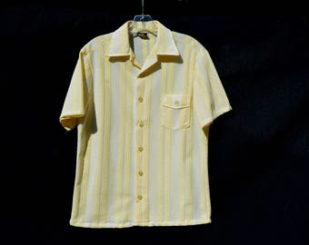 Vintage 60-70's GANTRY polyester shirt MOD sheer men's knitted fishnet size M by thekaliman