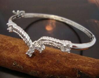 Vintage Clear Crystal Cocktail Bangle Bracelet Silver Plated Brass Fine (TO377)