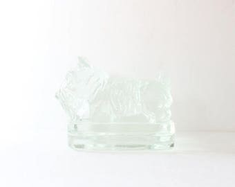 50% half off sale // Vintage Scottie Dog Set of Two Bookend Figurines - Clear Glass - heavy thick, block, Corning