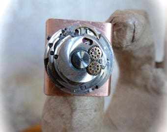 HUGE SALE SALE -  Steampunk Ring Vintage Roamer Silver Watch Movement Adjustable