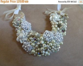 HUGE SALE Bridal Wedding Bib Necklace OOAK Crystal and Glass Pearls