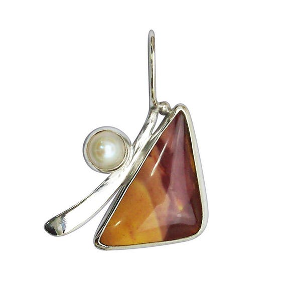 Mookaite Jasper, Fresh Water Pearl and Sterling Silver Pendant  pmkth2862