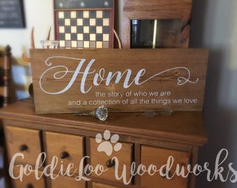 Home, wood sign, word art