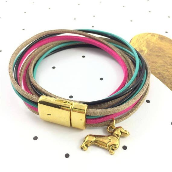 Leather, magnetic, magnet, gold, bracelet, pink, turquoise, black, gold, teckel charm, choker necklace, magnet, les perles rares