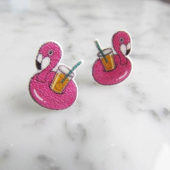 flamingo, cocktail, earring, pool earring, pink stud earring, print on plastic, shrink plastic, stainless stud, handmade, les perles rares
