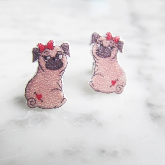 pug, carlin, red bow female dog earring, dog, brown, hypoallergenic, plastic, stainless stud, handmade, les perles rares
