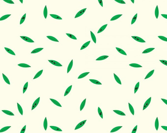 Organic KNIT Fabric - Charley Harper Western Birds - Green Leaves Knit