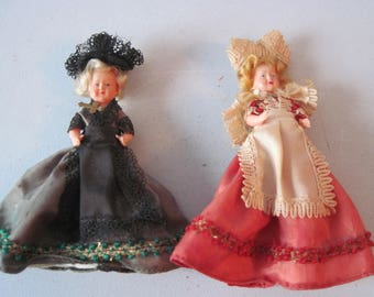 Two Vintage miniature La Bresse Celluloid Dolls France