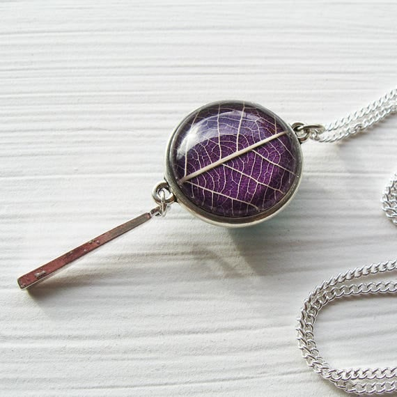 Double Sided Real Pressed Leaf Necklace - Teal and purple