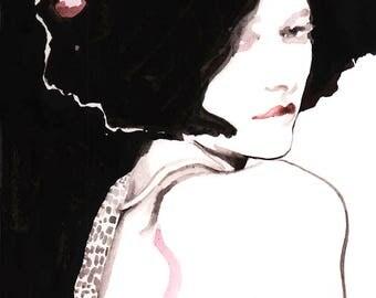 New Prices/Sizes Watercolor Portrait Print, Fashion Illustration Print, Watercolor Print, Cate Parr, Fashion Poster Art, Wall Art Print